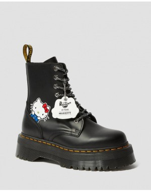 Black Friday Sale Dr. Martens JADON WOMEN'S HELLO KITTY PLATFORM BOOTS - BLACK POLISHED SMOOTH
