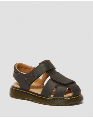 Black Friday Sale Dr. Martens TODDLER MOBY II WILDHORSE LEATHER VELCRO SANDALS - GAUCHO WILDHORSE LAMPER