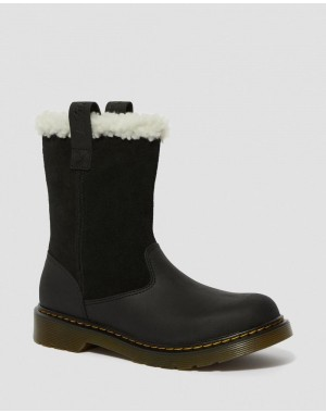 Dr.Martens YOUTH JUNEY FAUX FUR LINED BOOTS - BLACK REPUBLIC WP+HI SUEDE WP - Sale