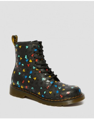 YOUTH 1460 LEATHER HEART PRINT LACE UP BOOTS - BLACK-MULTI HYDRO LEATHER
