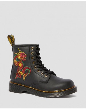 Dr.Martens JUNIOR 1460 DRAGON EMBROIDERED BOOTS - BLACK ROMARIO - Sale