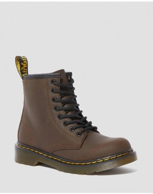 Dr.Martens JUNIOR 1460 FAUX FUR LINED LACE UP BOOTS - DARK BROWN MOHAWK - Sale