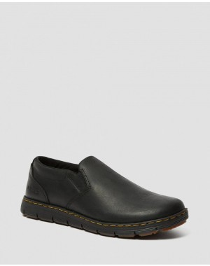RHODES MEN'S LEATHER CASUAL SLIP ON SHOES - BLACK BERKLEY