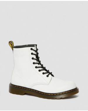 Black Friday Sale Dr. Martens YOUTH 1460 LEATHER LACE UP BOOTS - WHITE ROMARIO