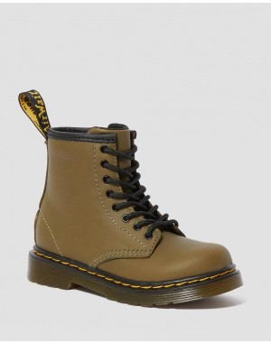Black Friday Sale Dr. Martens TODDLER 1460 LEATHER LACE UP BOOTS - DMS OLIVE ROMARIO