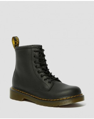 JUNIOR 1460 SOFTY T LEATHER LACE UP BOOTS - BLACK
