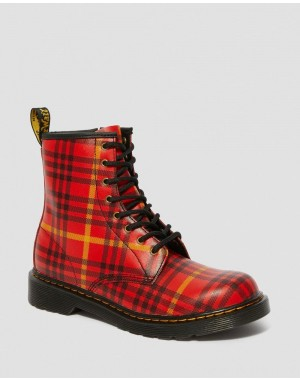 Dr.Martens YOUTH 1460 MCMARTEN TARTAN LEATHER BOOTS - RED-MULTI TARTAN BACKHAND STRAW GRAIN - Sale