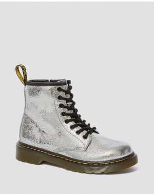 Black Friday Sale Dr. Martens JUNIOR 1460 CRINKLE METALLIC LACE UP BOOTS - SILVER CRINKLE METALLIC