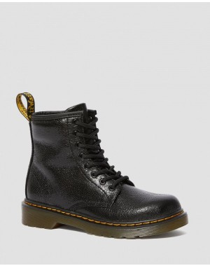 Dr.Martens JUNIOR 1460 CRINKLE METALLIC LACE UP BOOTS - BLACK CRINKLE METALLIC - Sale