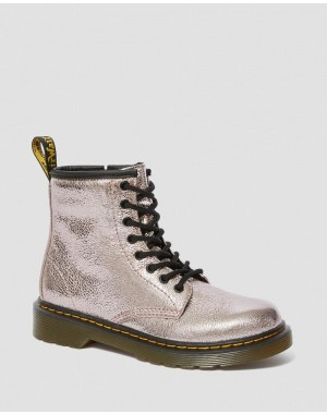 Dr.Martens JUNIOR 1460 CRINKLE METALLIC LACE UP BOOTS - PINK SALT CRINKLE METALLIC - Sale