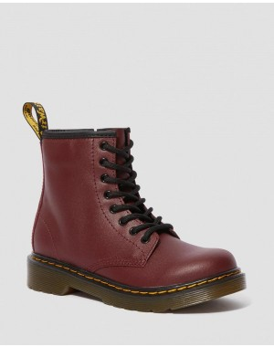 Black Friday Sale Dr. Martens JUNIOR 1460 SOFTY T LEATHER LACE UP BOOTS - CHERRY RED