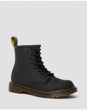 Dr.Martens JUNIOR 1460 FAUX FUR LINED LACE UP BOOTS - BLACK MOHAWK - Sale