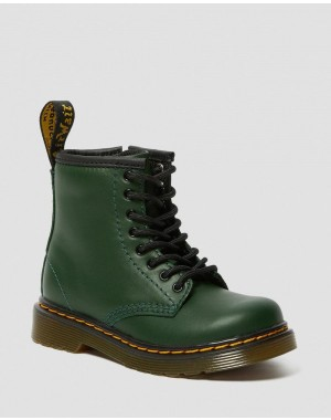 Black Friday Sale Dr. Martens TODDLER 1460 LEATHER LACE UP BOOTS - DMS GREEN ROMARIO