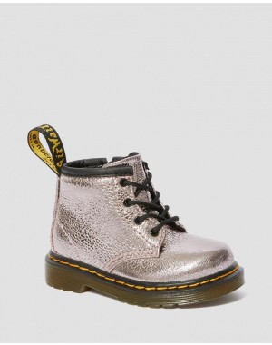 Black Friday Sale Dr. Martens INFANT 1460 CRINKLE METALLIC LACE UP BOOTS - PINK SALT CRINKLE METALLIC