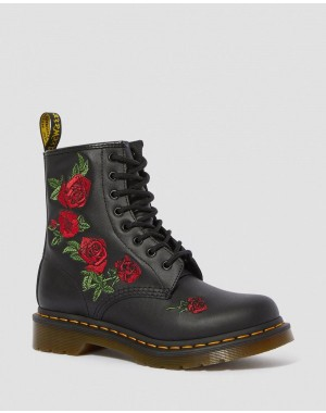 Black Friday Sale Dr. Martens 1460 VONDA FLORAL LEATHER LACE UP BOOTS - BLACK SOFTY T