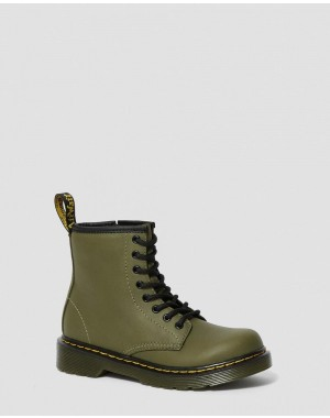 Black Friday Sale Dr. Martens JUNIOR 1460 LEATHER LACE UP BOOTS - DMS OLIVE ROMARIO