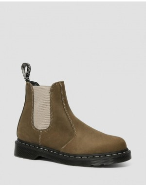 Black Friday Sale Dr. Martens 2976 POP WILDHORSE LEATHER CHELSEA BOOTS - GRENADE GREEN WILDHORSE