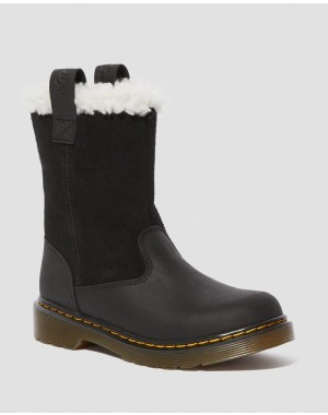 Dr.Martens JUNIOR JUNEY FAUX FUR LINED BOOTS - BLACK REPUBLIC WP+HI SUEDE WP - Sale