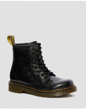 Black Friday Sale Dr. Martens JUNIOR 1460 GLITTER LACE UP BOOTS - BLACK COATED GLITTER