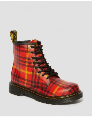 Dr.Martens JUNIOR 1460 MCMARTEN TARTAN LEATHER BOOTS - RED-MULTI TARTAN BACKHAND STRAW GRAIN - Sale