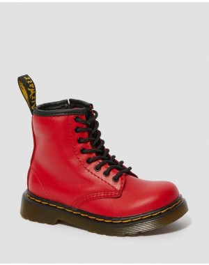 Black Friday Sale Dr. Martens TODDLER 1460 LEATHER LACE UP BOOTS - RED ROMARIO
