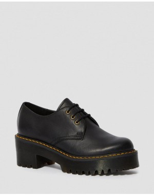 Dr.Martens SHRIVER LOW WOMEN'S WYOMING LEATHER HEELED SHOES - BLACK WYOMING - Sale