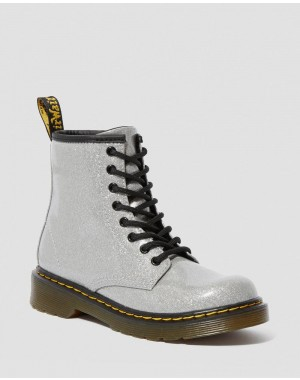 Dr.Martens JUNIOR 1460 GLITTER LACE UP BOOTS - SILVER COATED GLITTER - Sale