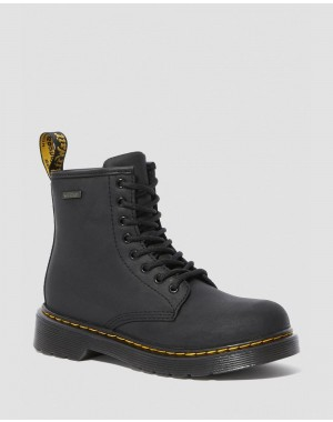 Black Friday Sale Dr. Martens JUNIOR 1460 WATERPROOF LEATHER BOOTS - BLACK REPUBLIC WP
