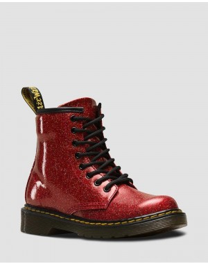 Black Friday Sale Dr. Martens JUNIOR 1460 GLITTER LACE UP BOOTS - RED MULTI COATED GLITTER