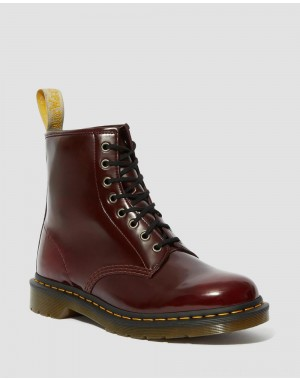 Black Friday Sale Dr. Martens VEGAN 1460 LACE UP BOOTS - CHERRY RED OXFORD RUB OFF