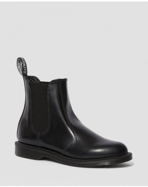FLORA WOMEN'S SMOOTH LEATHER CHELSEA BOOTS - BLACK POLISHED SMOOTH