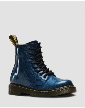 Black Friday Sale Dr. Martens JUNIOR 1460 GLITTER LACE UP BOOTS - BLUE COATED GLITTER