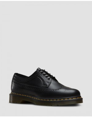 Black Friday Sale Dr. Martens 3989 YELLOW STITCH SMOOTH LEATHER BROGUE SHOES - BLACK SMOOTH