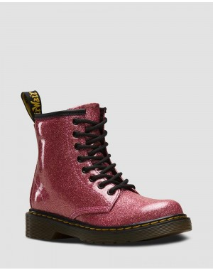 Black Friday Sale Dr. Martens JUNIOR 1460 GLITTER LACE UP BOOTS - PINK COATED GLITTER