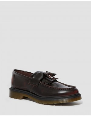 Black Friday Sale Dr. Martens ADRIAN ARCADIA LEATHER TASSLE LOAFERS - CHERRY RED ARCADIA