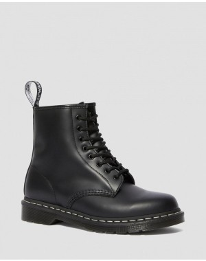1460 CONTRAST STITCH SMOOTH LEATHER BOOTS - BLACK SMOOTH
