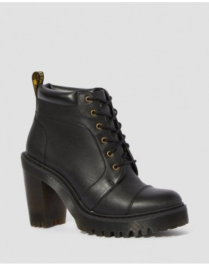 Dr.Martens AVERIL WOMEN'S LEATHER HEELED ANKLE BOOTS - BLACK SENDAL - Sale