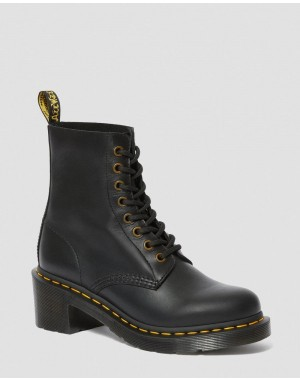 Black Friday Sale Dr. Martens CLEMENCY WOMEN'S LEATHER HEELED LACE UP BOOTS - BLACK WANAMA