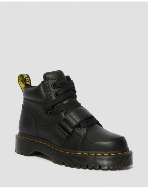 Dr.Martens ZUMA II WOMEN'S LEATHER CHUNKY BOOTS - BLACK VIRGINIA - Sale