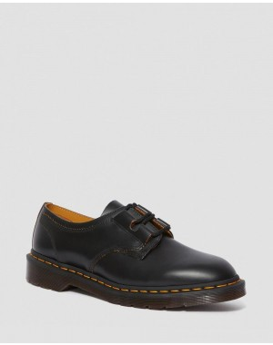 Dr.Martens 1461 GHILLIE LEATHER OXFORD SHOES - BLACK VINTAGE SMOOTH - Sale