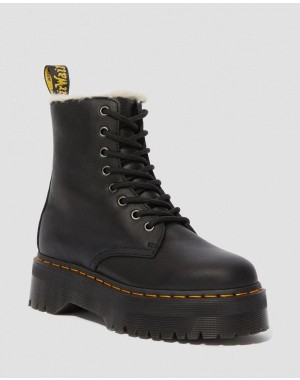 Black Friday Sale Dr. Martens JADON LEATHER FAUX FUR LINED PLATFORM - BLACK PISA