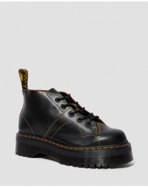 Black Friday Sale Dr. Martens CHURCH PLATFORM MONKEY BOOTS - BLACK VINTAGE SMOOTH