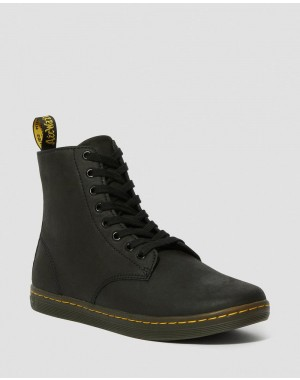 Black Friday Sale Dr. Martens TOBIAS MEN'S LEATHER CASUAL BOOTS - BLACK GREASY LAMPER