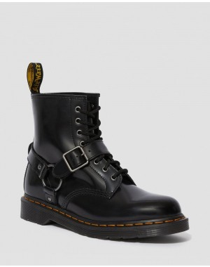 Dr.Martens 1460 HARNESS LEATHER LACE UP BOOTS - BLACK POLISHED SMOOTH - Sale