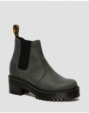 Black Friday Sale Dr. Martens ROMETTY WOMEN'S MOLDOVA LEATHER PLATFORM CHELSEA BOOTS - SLATE MOLDOVA