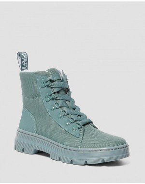Black Friday Sale Dr. Martens COMBS WOMEN'S POLY CASUAL BOOTS - TEAL/GREY AJAX+EXTRA TOUGH POLY