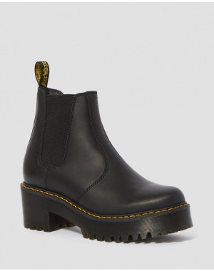 Black Friday Sale Dr. Martens ROMETTY WOMEN'S LEATHER PLATFORM CHELSEA BOOTS - BLACK BURNISHED WYOMING