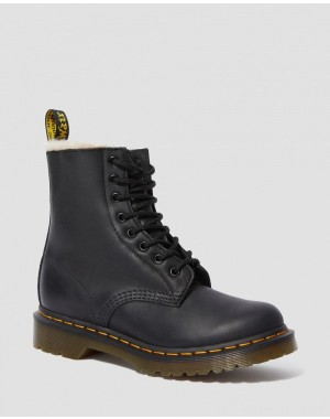 Dr.Martens 1460 WOMEN'S FAUX FUR LINED LACE UP BOOTS - BLACK BURNISHED WYOMING - Sale
