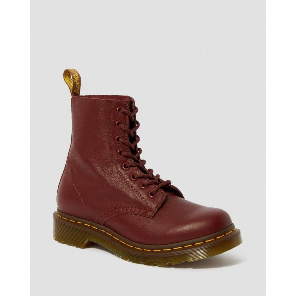 Black Friday Sale Dr. Martens 1460 WOMEN'S PASCAL VIRGINIA LEATHER BOOTS - CHERRY RED VIRGINIA