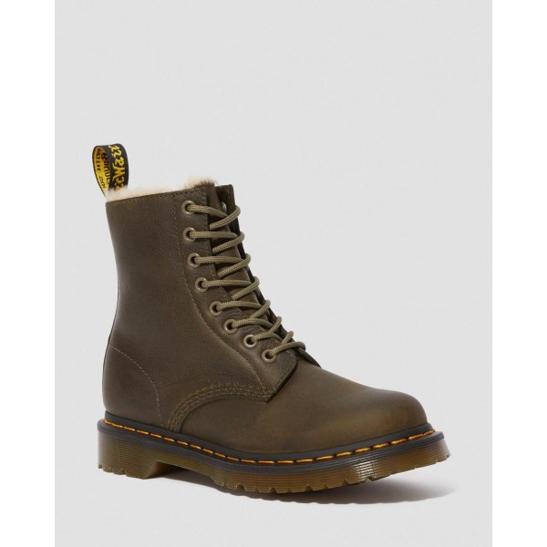 Black Friday Sale Dr. Martens 1460 WOMEN'S FAUX FUR LINED LACE UP BOOTS - DMS OLIVE BURNISHED WYOMING